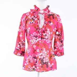 J. Crew pink cotton blend ruffled trim blouse 6